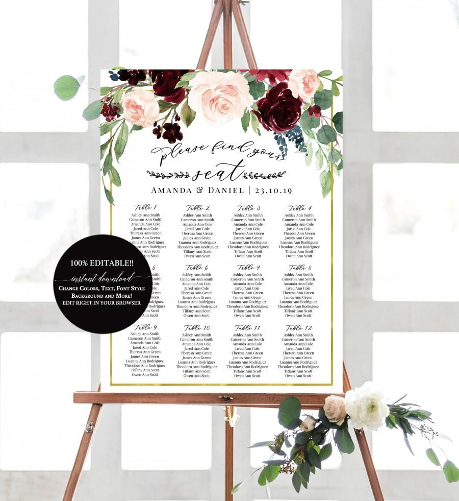 Mariage - Wedding Seating Chart Template Instant Download, Burgundy Wedding Seating Chart, Boho Merlot & Blush Floral Seating Sign, !00% Editable