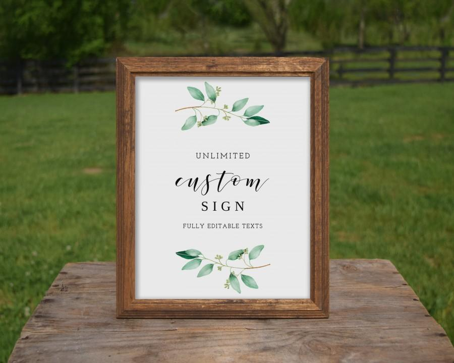 Mariage - Greenery Wedding Custom Signs, Unlimited Sign Template, Eucalyptus Wedding Decor, Personalized Wedding Signage, Instant Download - GN1