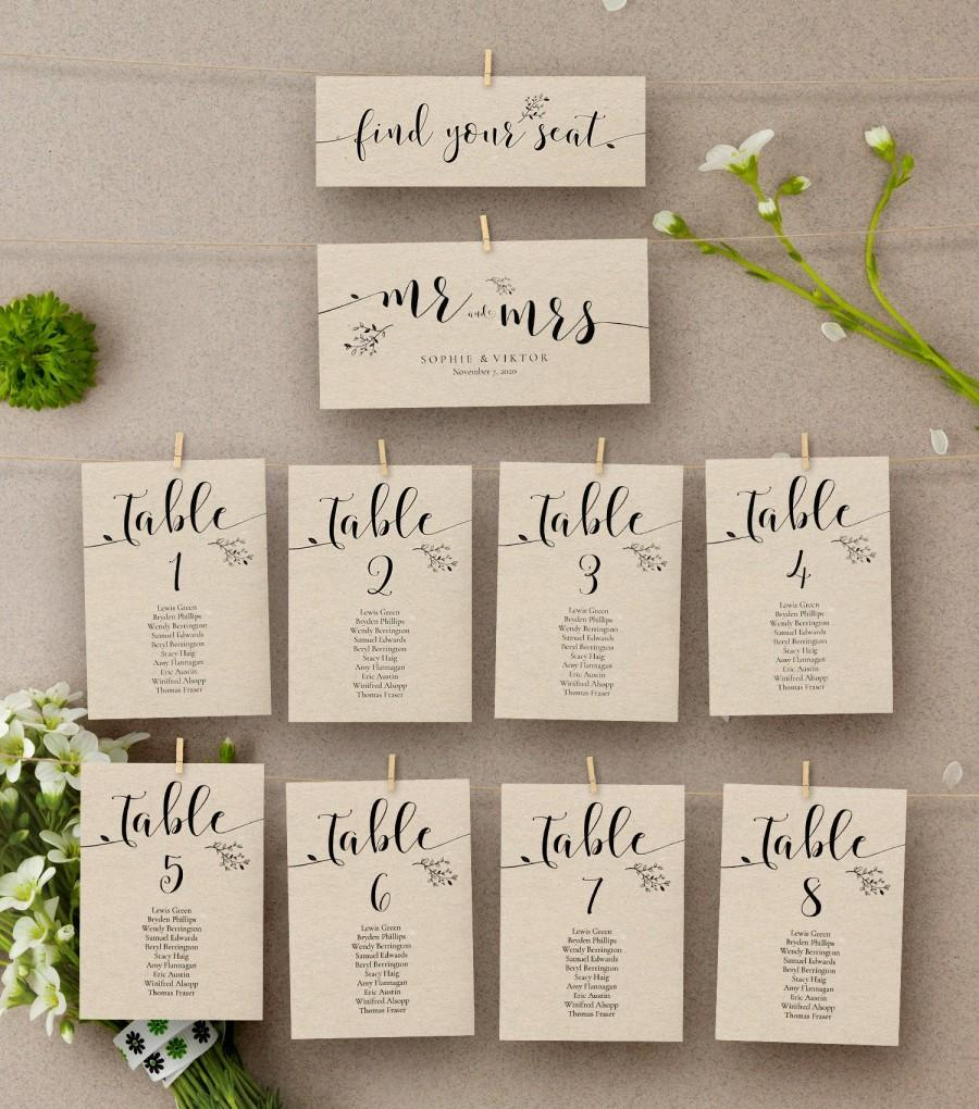 Mariage - Rustic Wedding Seating Chart Template, Floral Kraft Wedding Table Numbers, Seating Plan Template, Table Assignment Card, AB07_01_006