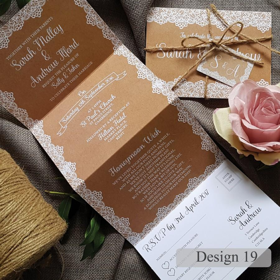 Mariage - Personalised Wedding Invitation With Envelope, Tag & Twine - Vintage Lace on Hessian Wedding Invites Or Evening Invitation