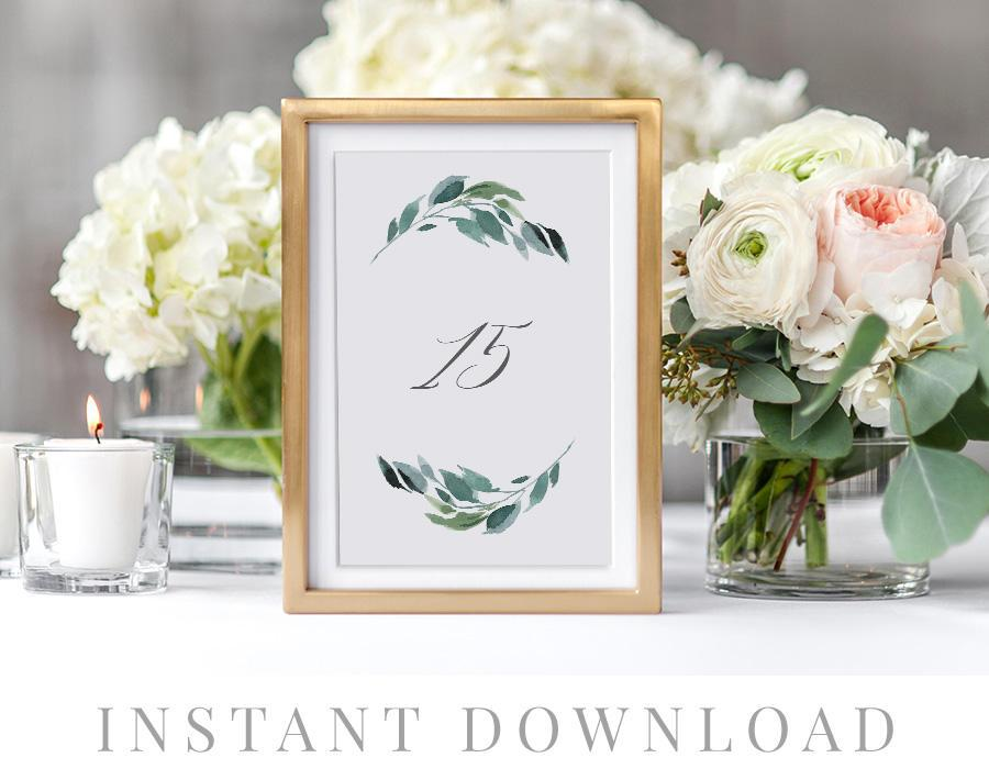 Hochzeit - Printable Table Numbers INSTANT DOWNLOAD, Wedding Table Numbers, DIY Printable Decorations, Templett, Editable pdf, Rustic, Luca