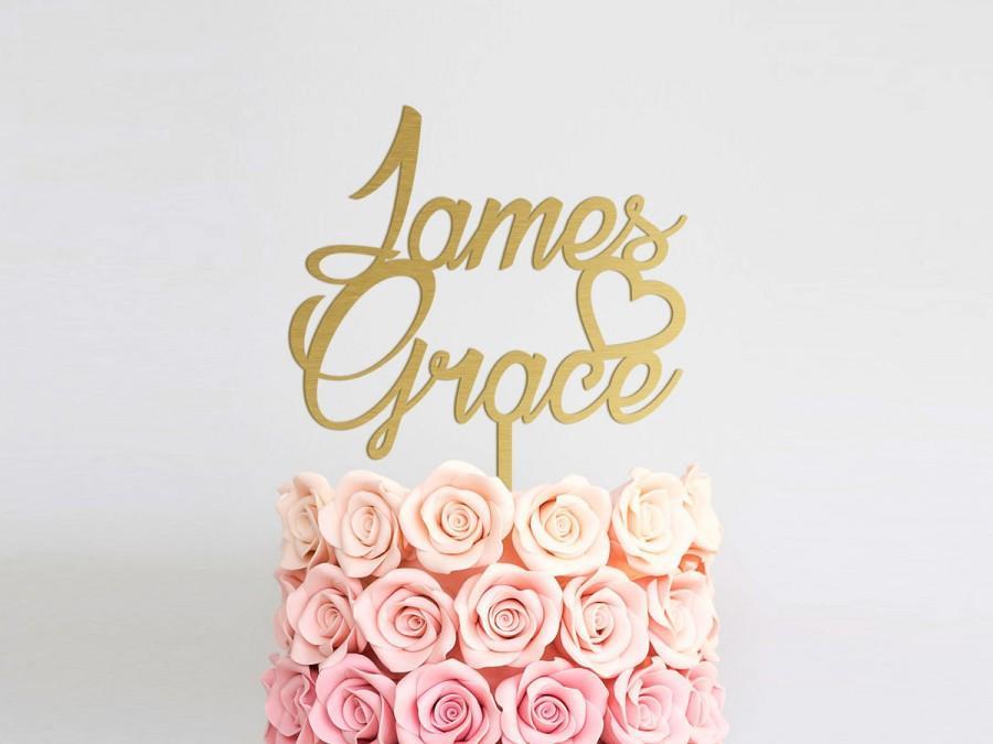 Wedding - Wedding Cake Topper Rustic Cake Topper Name Wedding Cake Topper Heart Mr and Mrs Cake Topper Gold Cake Topper Engagement Anniversary Decor