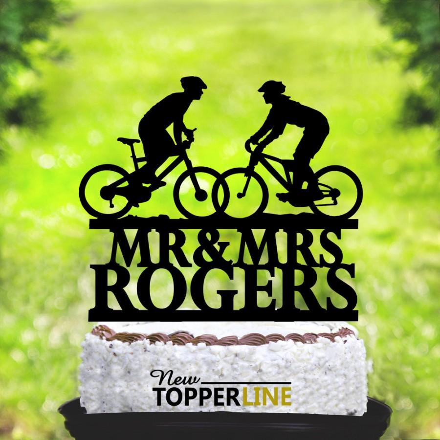 Mariage - Wedding Bicycle Cake Topper,Wedding Cake Topper,Bride and Groom Silhouettes on Bike,Bicycle Silhouette Topper,Mountain Bike Couple (2058)