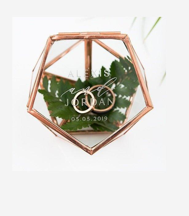 Mariage - Personalized Wedding Ring Box, Rose gold ring box, copper terrarium Ring Box, Geometric Glass Ring Box, Copper Jewelry Box, Proposal Box