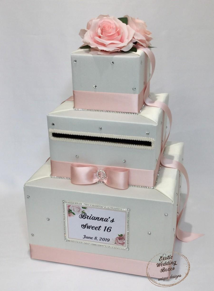 Mariage - Ivory and Blush Pink Card Box with Silk Blush Roses and Rhinestone accents