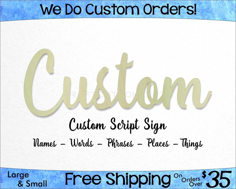 Mariage - Custom Script Unfinished Wood Sign - Laser Cut Letters - Hanging Wall Decor - Wedding Name - Nursery Name Sign - Custom - Craft Sign Display