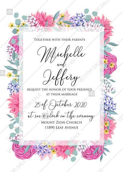 Свадьба - Wedding invitation set watercolor pink peony rose chrysanthemum dahlia PDF 5x7 in online editor