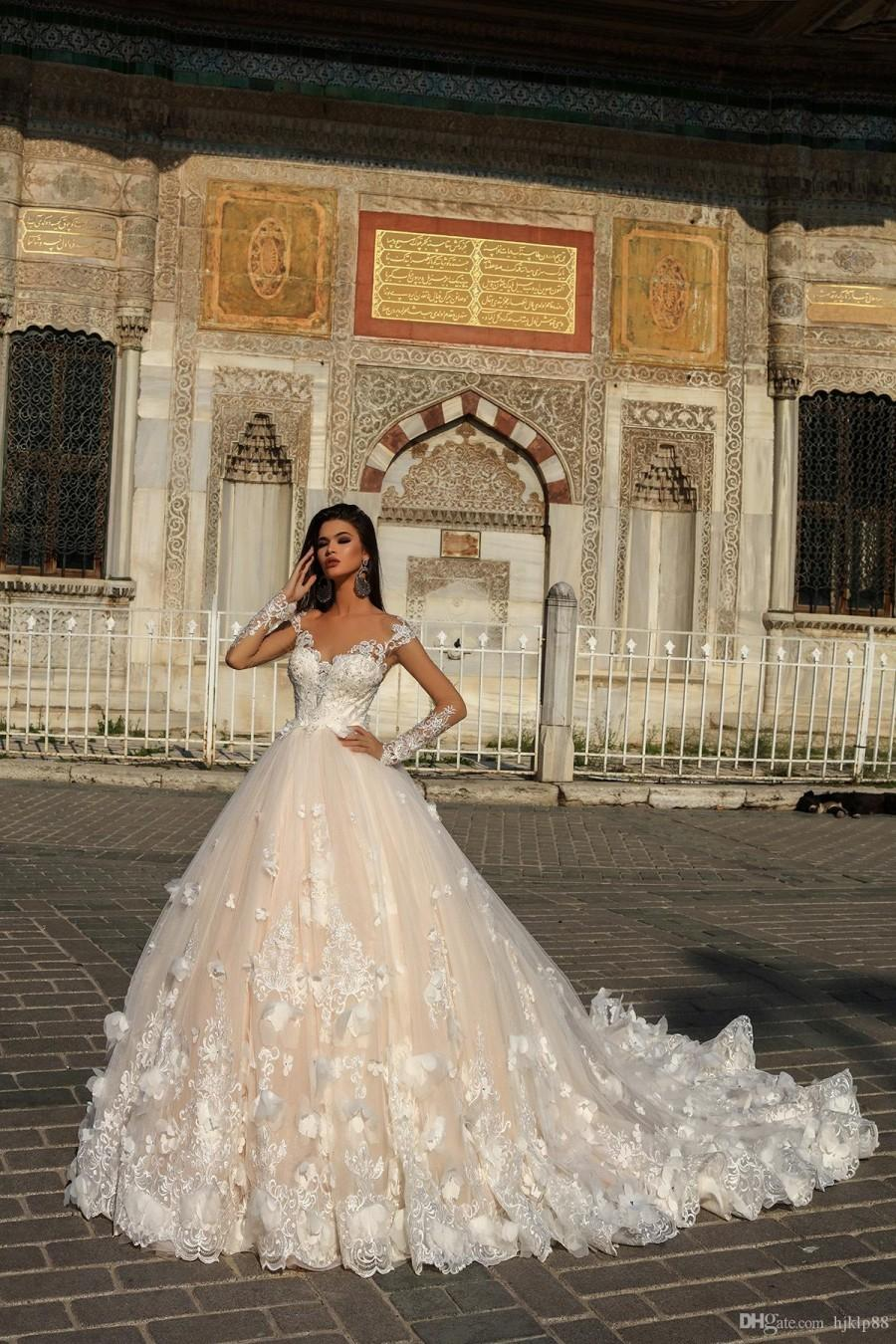 Wedding - Discount 2019 New A Line Wedding Dresses Lace Applique 3D Floral Appliques 3141 MELEK Weddings Dresses Weding Dresses From Hjklp88, $128.15