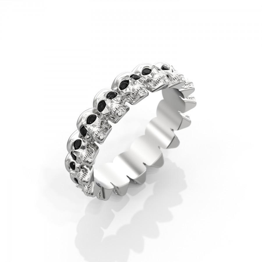 Wedding - Diamond Skull Eternity Ring 14k white gold unisex women men skull wedding band half carat black diamond gift for men