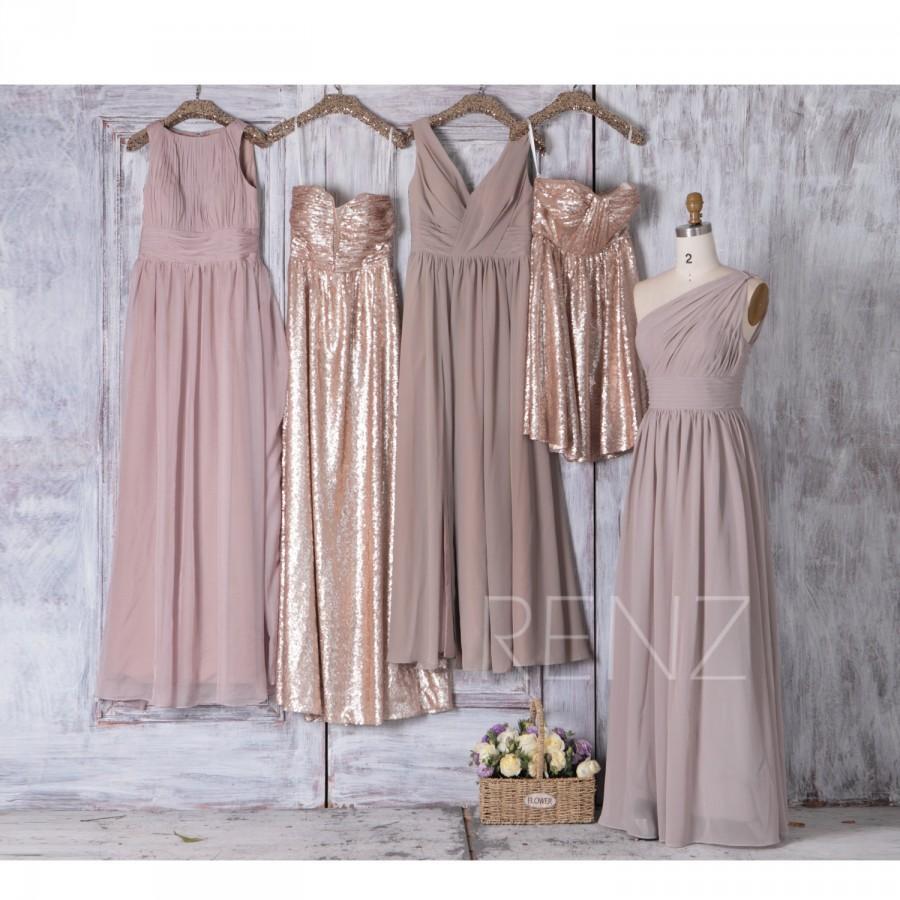 Hochzeit - Cream Chiffon Mismatched Bridesmaid Dress V Neck Tan Sequin Dress Wedding Dress Strapless Sweetheart Evening Dress(H179/J025/LQ265/T112)