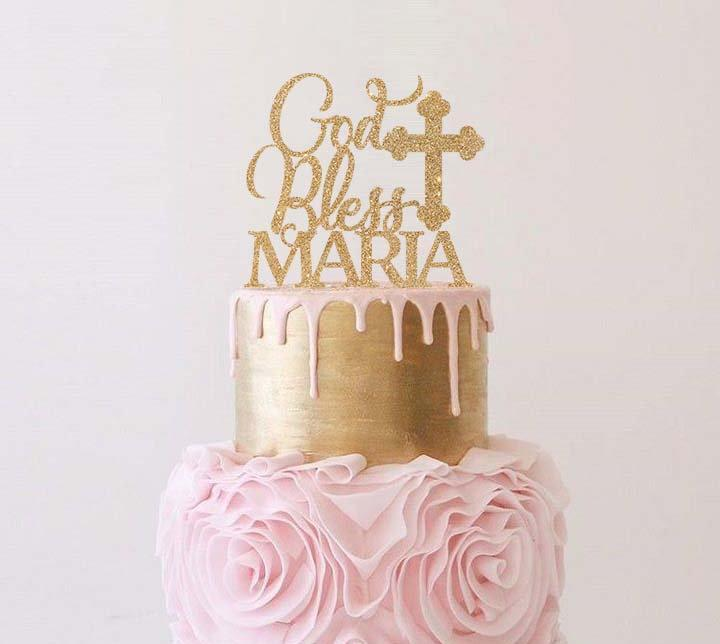 """Mariage - Gold Bless """"Name"""" Cake Topper"""