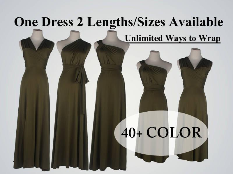 Mariage - Olive bridesmaid dress long infinity dress short convertible  bridesmaid dress Olive green infinity dress long maxi dress wedding dress