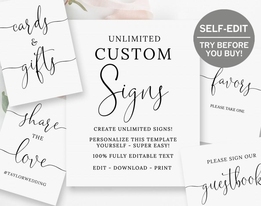 Mariage - Create Custom Wedding Signs, TRY BEFORE You BUY, 8x10, Bridal Shower Sign, Baby Shower Sign, Custom Signs, Wedding Signage, Template