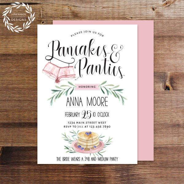 Mariage - Pancakes & Panties Lingerie Shower Invitations