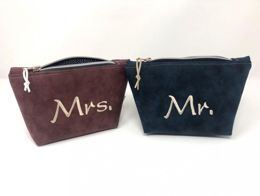 Mariage - Cosmetic bags Mr and Mrs wedding gift