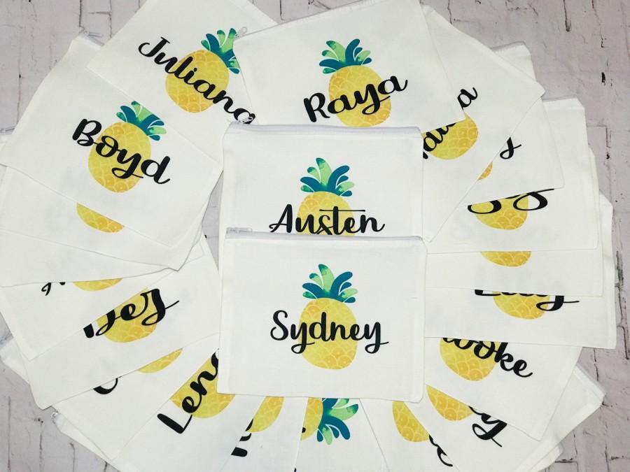Свадьба - pineapple makeup bag, pineapple cosmetic bag, personalized makeup bag with pineapple, pineapple birthday, pineapple gift, pineapple Party