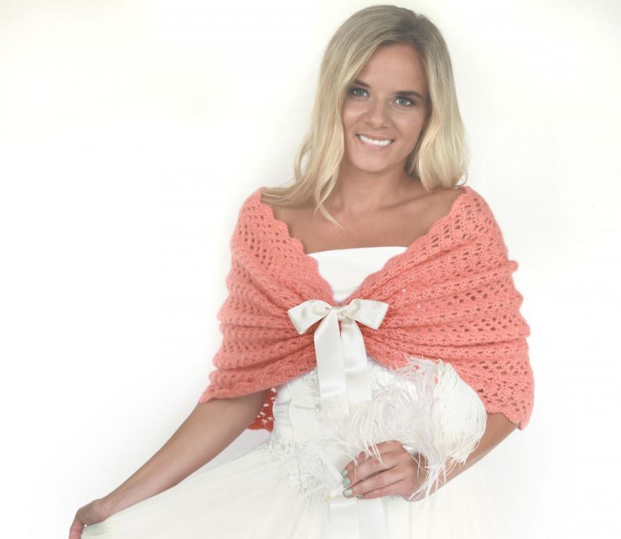 Свадьба - Bridal Orange Shawl Wedding Wrap Coral Bridal Cover Up Wedding Bolero Shrug Crochet Shawl Capelet Bridal Cape Bridesmaid Shawl Size L/XL