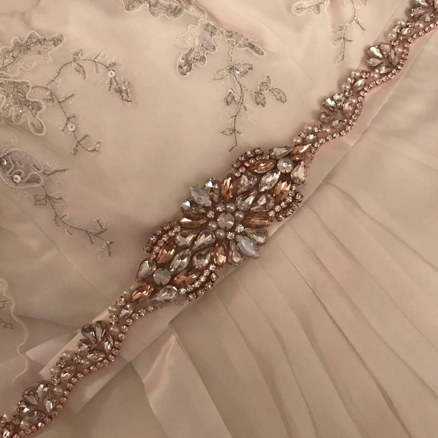 Свадьба - Vintage Art Deco Style ELLA Rose Gold Opal Blush Pearl Crystal Rhinestone Diamante Belt Sash Bridal Message Me for Straps