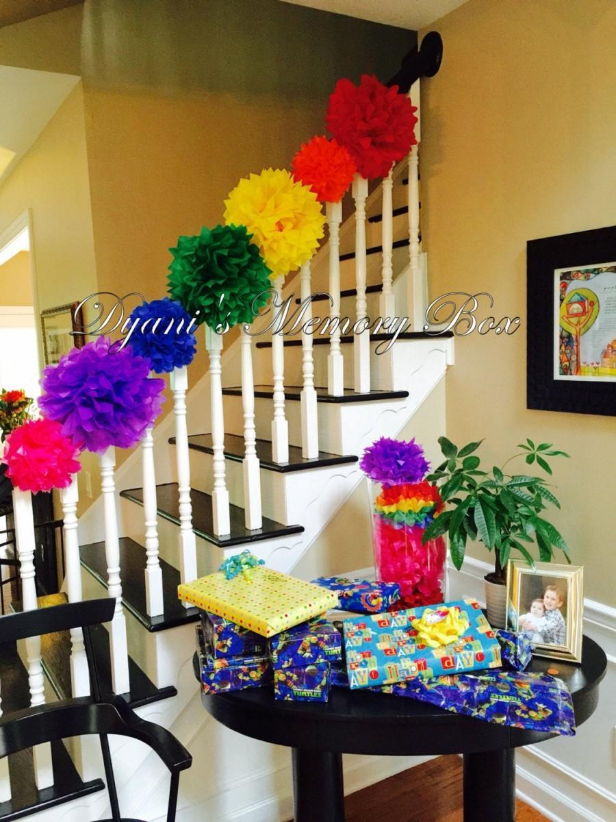 Mariage - Set of 7 Rainbow Handmade Tissue Paper Pom Poms / Wedding Rainbow Decor / Fiesta Decor / Rainbow Birthday