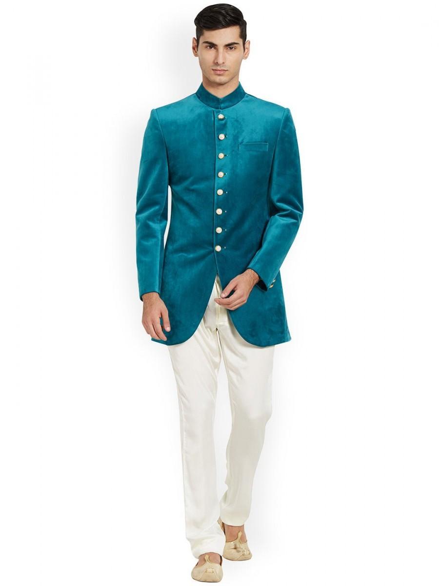 Hochzeit - Indian Designer Mens Wedding Wear Dress Indowestern Velvet COAT/BLAZER Suits Plus Size Available