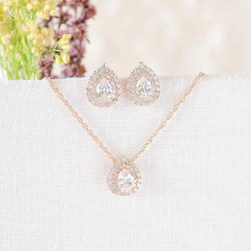 Wedding - Rose Gold, Silver, Wedding Jewelry SET, Bridal Necklace Earring Set, Teardrop Earrings, Bridal Studs, Wedding Necklace, Bridesmaid, ANISSA