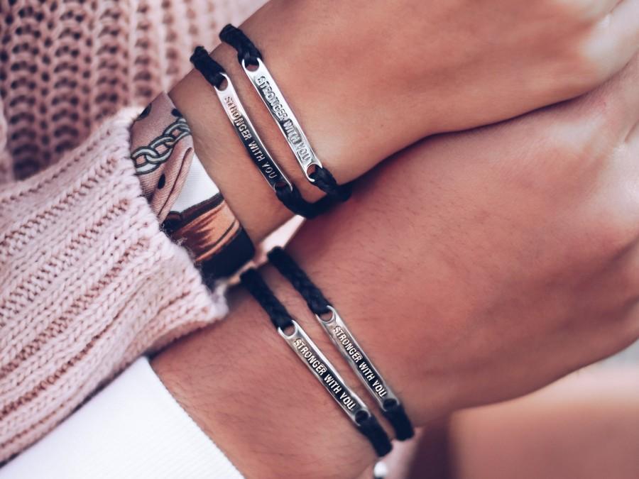 زفاف - Stronger With You Engraved Bar • Couple bracelets • Matching Bracelets • Meaningful Gift