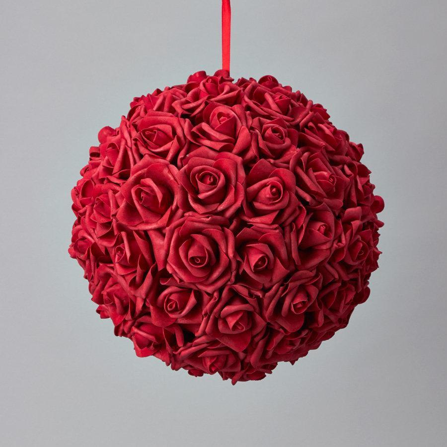 Hochzeit - Red Foam rose soft touch flower ball