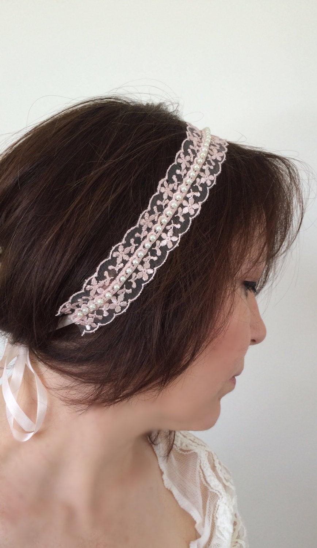 زفاف - Dreamy Lace Headband, Bridal Headpiece, Wedding Hairwrap, Pearl Hair Jewelry, Fairytale Hairband, Embroidered Headband, Bridesmaid Headpiece