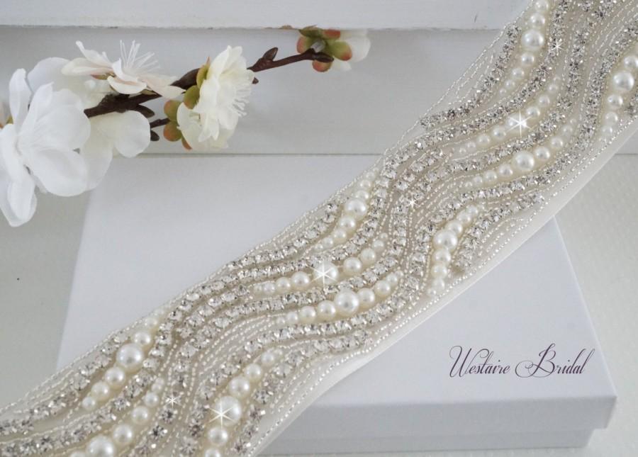 Wedding - Bridal Sash Belt, Bridal Belt, Sash Belt, Wedding Dress Belt, Crystal Rhinestone Belt, Style 176