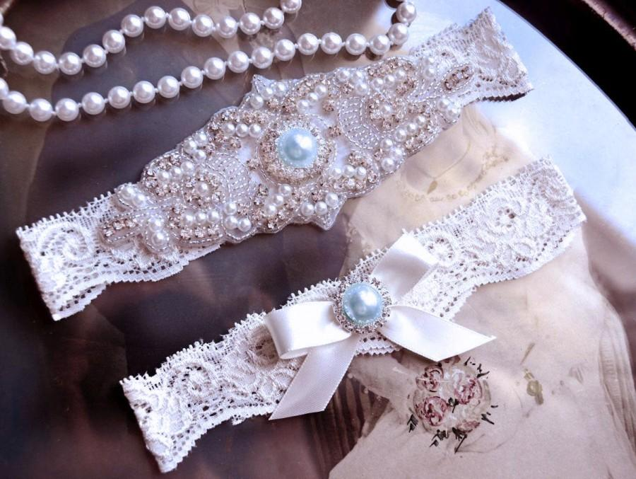 Wedding - Wedding Garter Set, Bridal Garter, Vintage Pearl Garter on Off White Lace with Elegant Bow and Rhinestones, Something Blue Garter