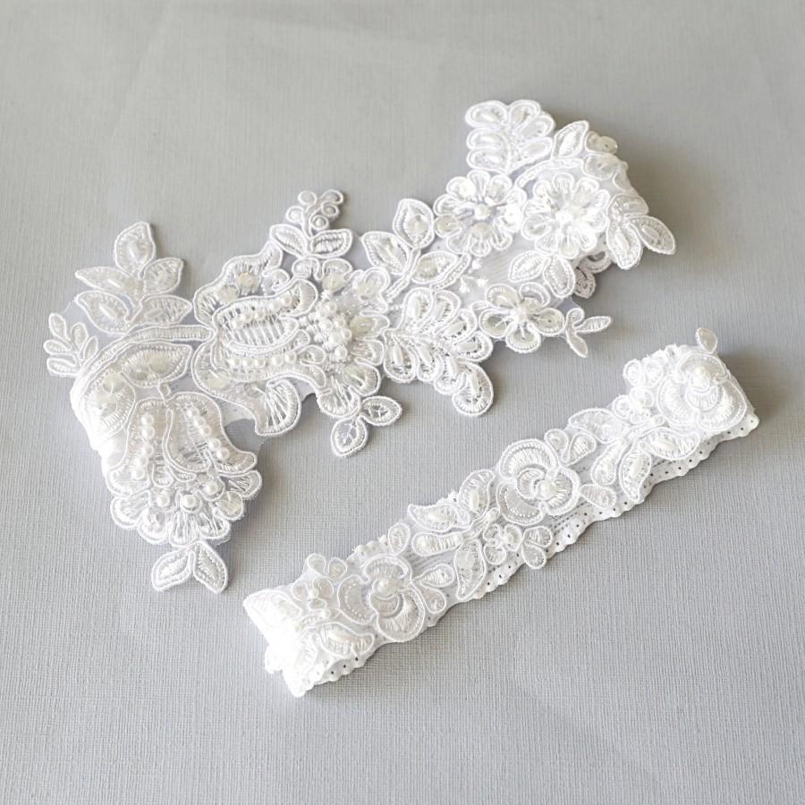 Wedding - Wedding Garter Set,White Beaded Lace Garter Set,Bridal Wedding Grter,Wedding Garter Set, White Wedding Garter, Style No. 1805