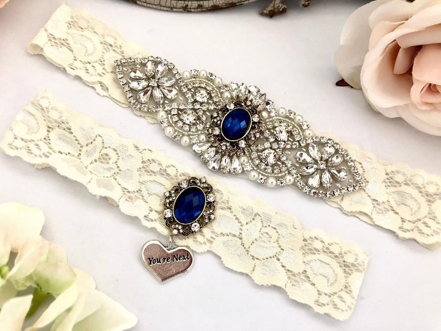 زفاف - Wedding Garter Set, Blue Bridal Garter, Lace Wedding Garter, Something Blue Garter, No Slip Garters, Navy Garter - 1828-DI
