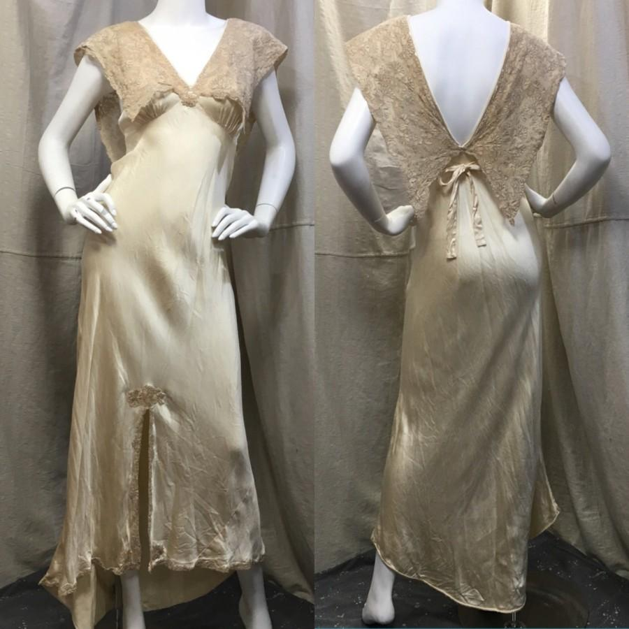 Wedding - Vintage Silk Lingerie Set with Panties // Retro 30s 40s Satin Wedding Negligee Set Extra Small