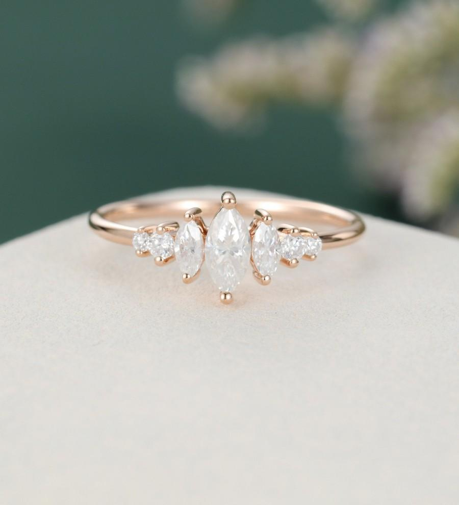 Wedding - Marquise cut Moissanite engagement ring rose gold Unique Antique Bridal Delicate Brilliant wedding women Promise Anniversary gift for her