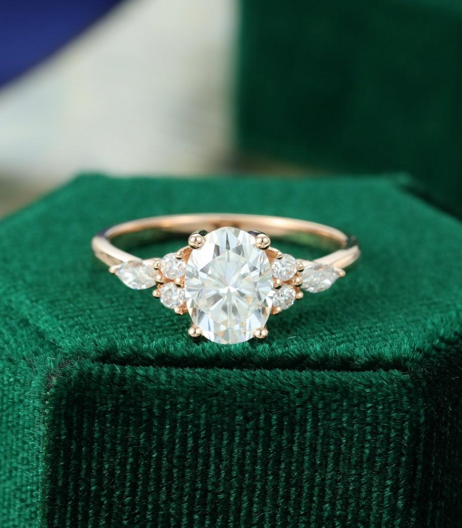 Hochzeit - Oval Moissanite engagement ring vintage unique rose gold engagement ring for women Marquise diamond/Moissanite ring Bridal Anniversary gift