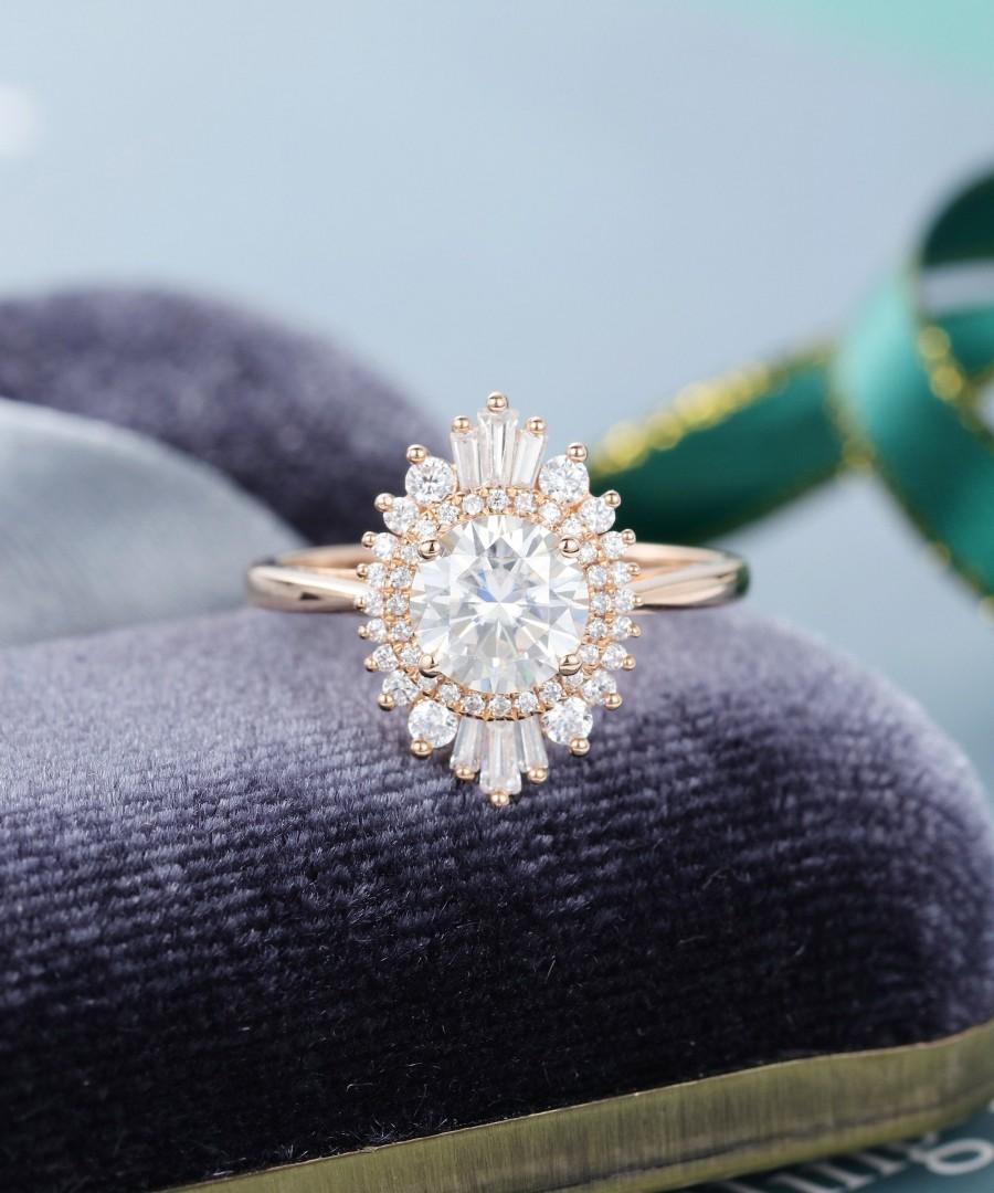 Hochzeit - Moissanite engagement ring vintage Halo Diamond / CZ rose gold engagement ring baguette cut wedding women art deco Anniversary gift for her