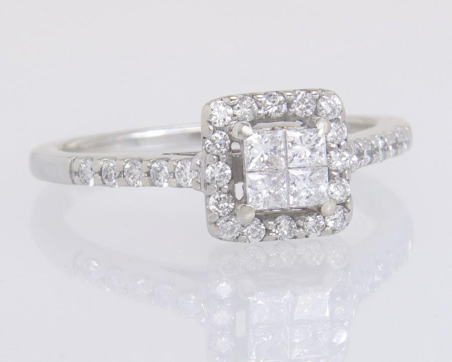 Hochzeit - Designer Estate 14K White Gold .50ct Invisible Set Genuine Diamond Engagement Ring 2.9g
