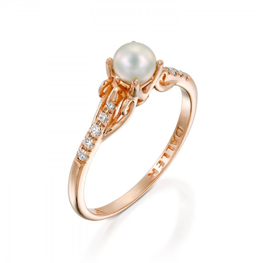 Hochzeit - pearl engagement ring rose gold, Pearl Wedding Ring, pearl vintage ring, White Pearl Ring, Diamond Pearl Gold Ring, 14k gold pearl, Gift
