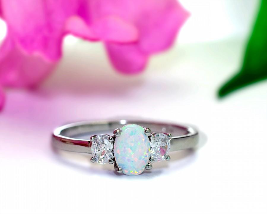 Свадьба - Opal 3 Stone Ring Sterling Silver Diamond CZ Accents, 3 Stone Engagement Ring Silver Opal, Opal Engagement Ring, Multistone Opal Ring,