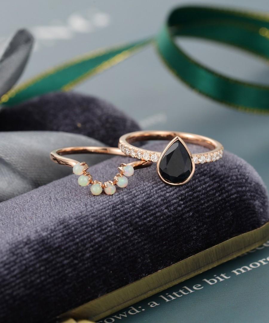 Wedding - 2PCS Pear shaped Black Onyx engagement ring set vintage women Moissanite Solid 14K rose gold Opal wedding ring for women anniversary gift