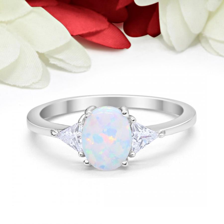 Hochzeit - Fashion Ring Oval Lab White Opal Triangle Simulated Diamond CZ Solid 925 Sterling Silver White Opal Ring