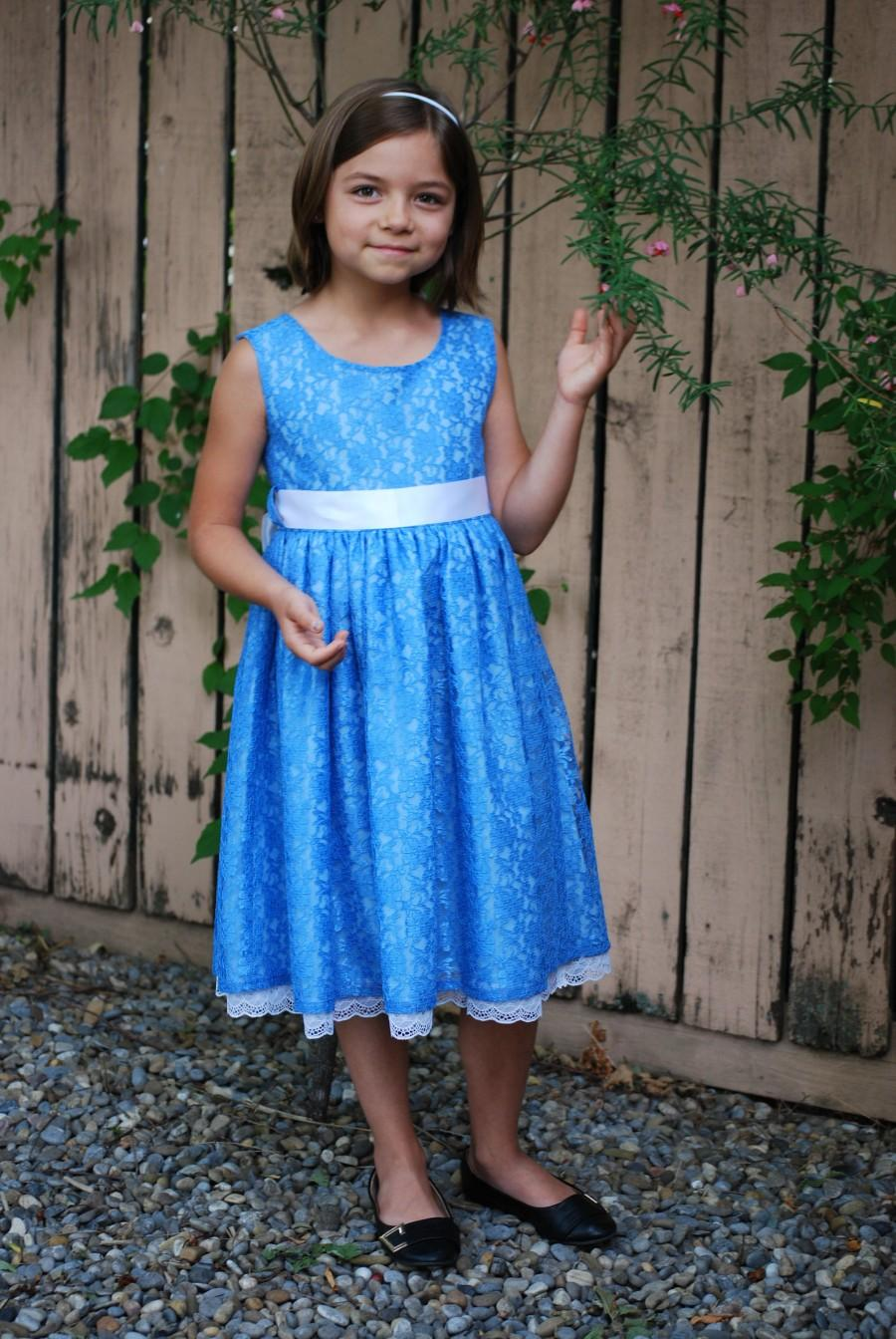 Свадьба - Girls Blue Lace Summer Wedding Outfit, Special Occasion Celebration Dress, Size 7  Sunday Church Dress, Formal Party Dress.