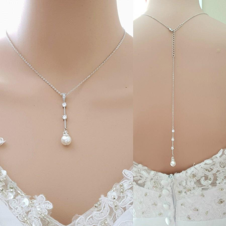 Mariage - Drop Back Necklace, Simple Wedding Necklace, Bridal Necklace Pearl and Crystals, Back Drop Pendant, Necklace Jewelry for Brides, Ginger