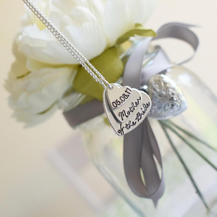 Mariage - Mother of the Bride personalised stacked hearts necklace customised gift wedding party bridal party present Mum Mummy
