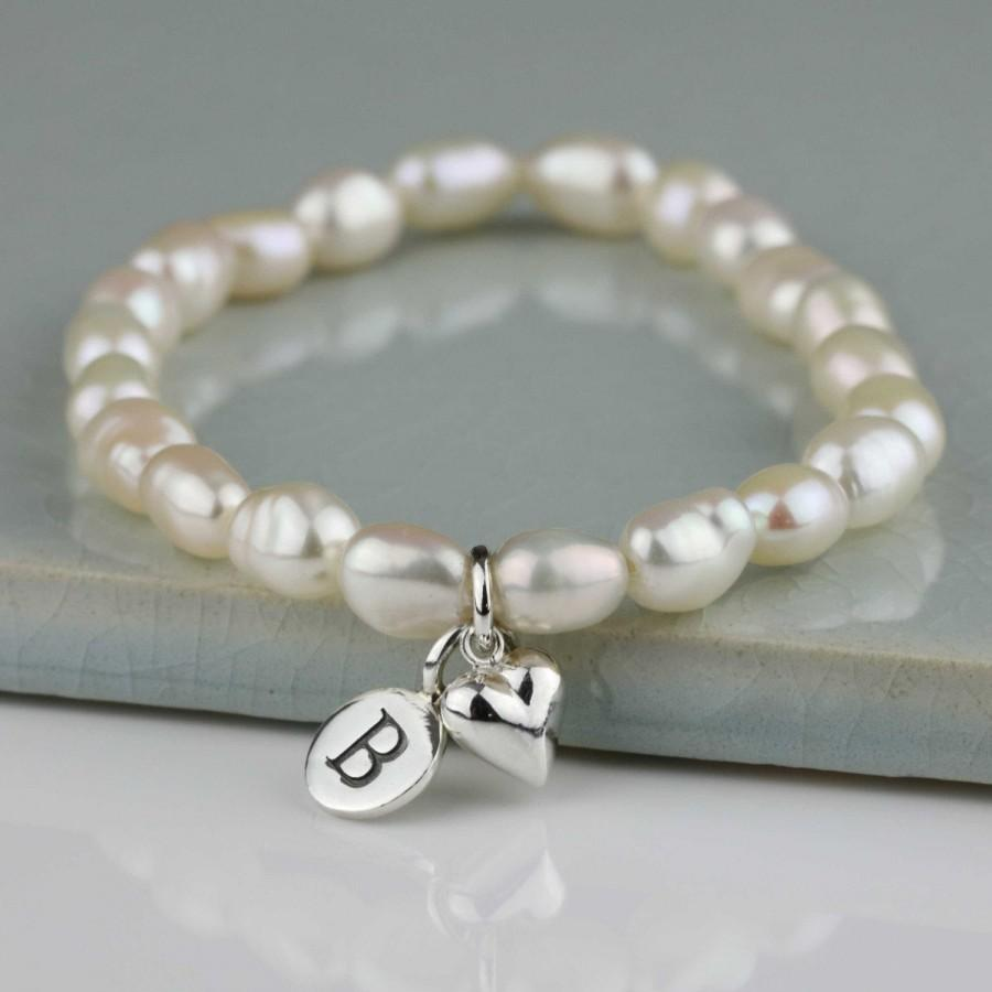 Mariage - Personalised Freshwater Pearl Bracelet with Solid Silver or Gold Petite Heart Charm