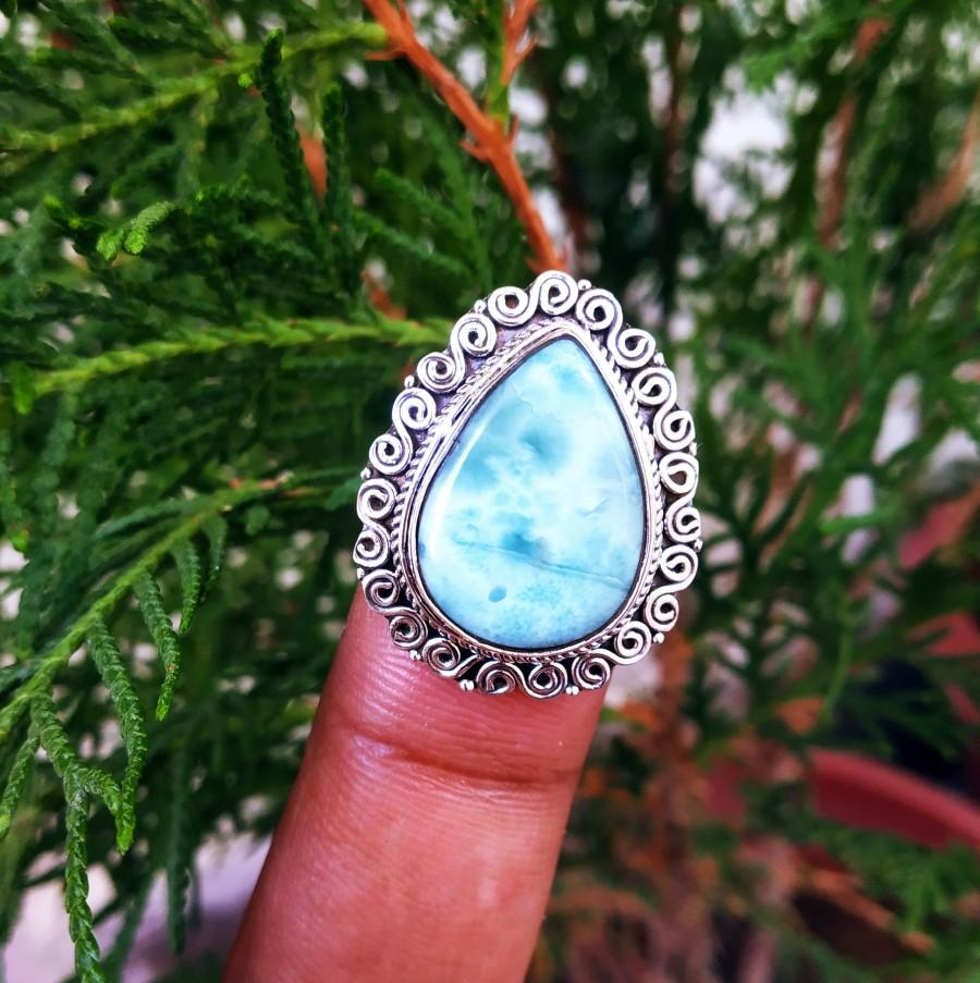 Mariage - Natural Larimar Ring, Silver Ring, Boho Ring, Ocean Blue Ring, Dominican Larimar Ring, Statement Ring, Healing Crystal Ring, teardrop ring