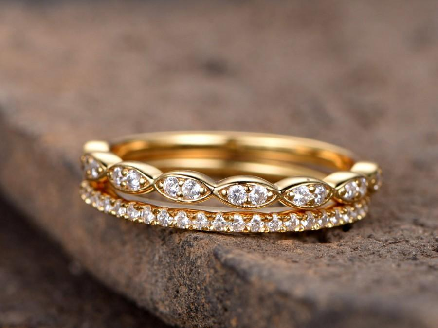 Wedding - Art deco wedding band/Silver CZ wedding band/Diamond eternity band/stacking rings/2PCS Matching band/Half eternity/Yellow gold plated