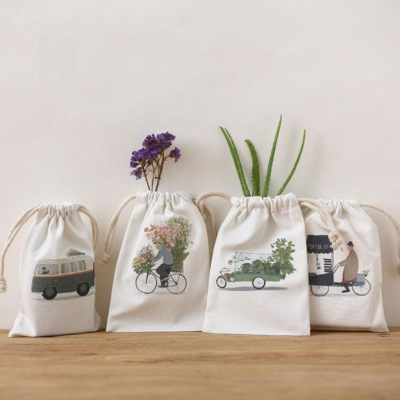Mariage - LOGO  Picture Color Printing, Pure natural pouch, Drawstring pouch, packaging supply bag, Cotton canvas/ Cotton / Cotton line