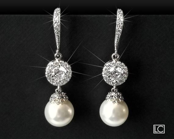 Wedding - Pearl Bridal Earrings, Swarovski White Pearl Chandelier Earrings, Pearl Silver Bridal Earrings, Statement Earrings, Pearl Wedding Jewelry