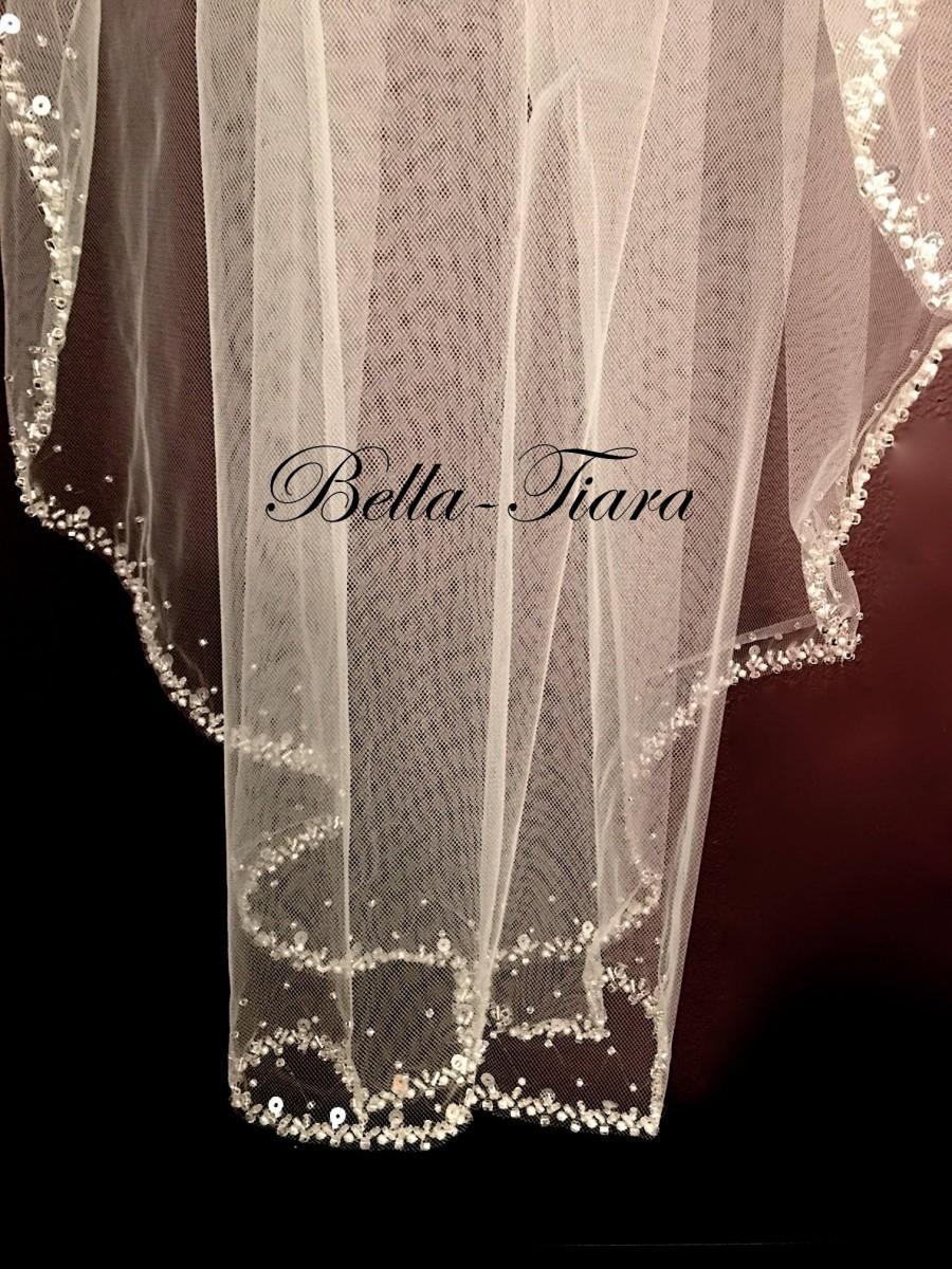 Свадьба - crystal beaded wedding veil, crystal pearl edge wedding veil, beaded wedding veil, beaded bridal veil, beaded veil, FREE BLUSHER
